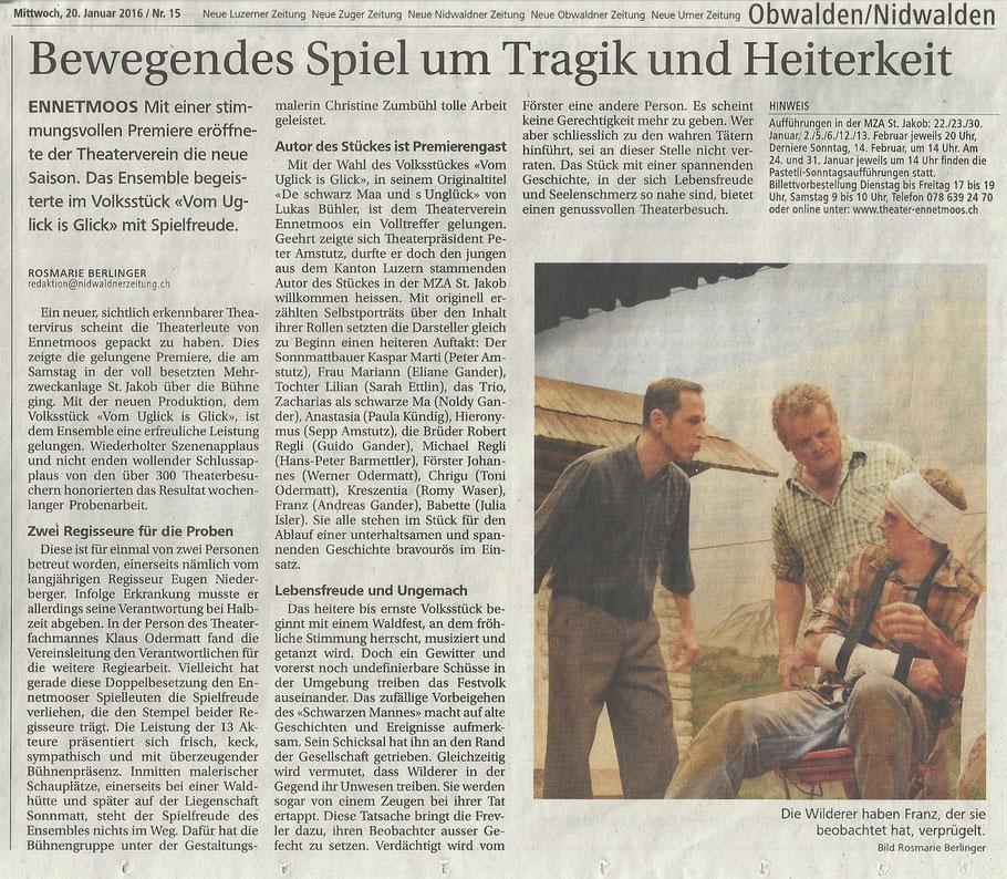 Zeitungsbericht unserer Premiere, 16. Jan 2016 - Theater Ennetmoos