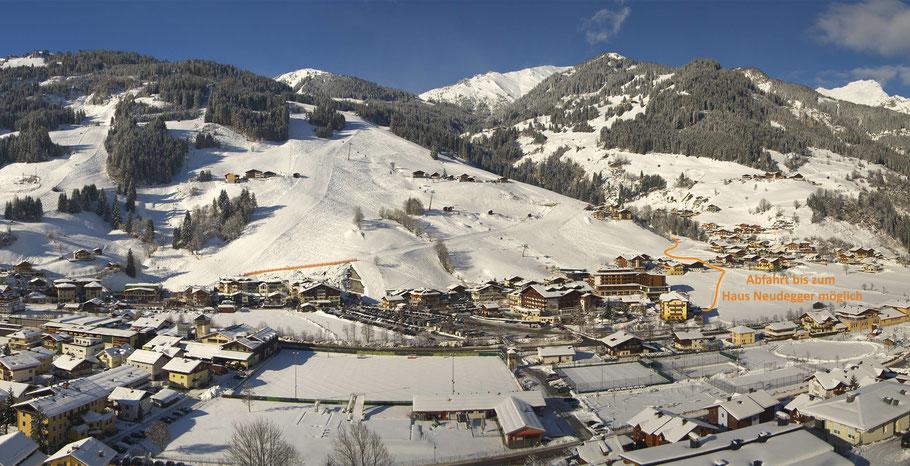 Eine Abfahrt mit den Skier ist bis zum Haus Neudegger möglich