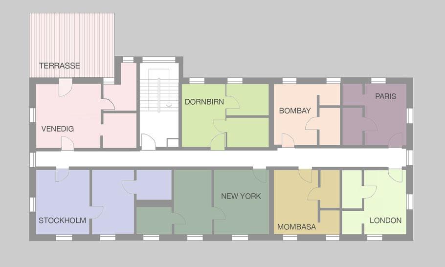 Bild: Grundriss der acht möblierten Mietwohnungen in Biberach