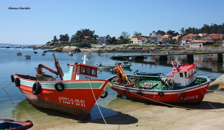 Barcos de mejillones en la Isla de Arosa - Pontevedra