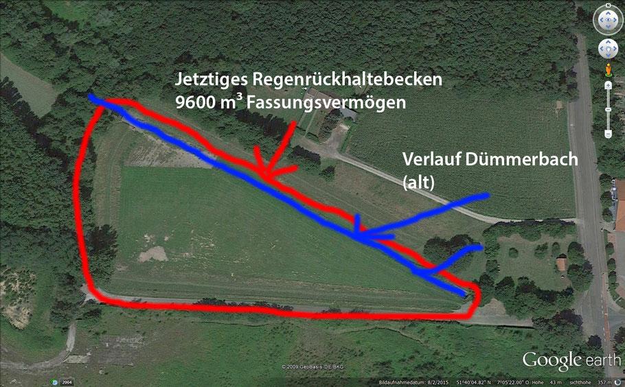 Aufnahme des RRB aus Google Earth. Eingezeichnet sind das aktuelle RRB, sowie der Dümmerbach