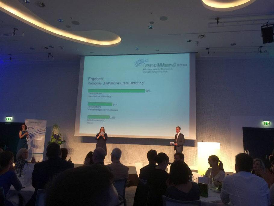 Der magische Moment: Das Ergebnis des Online-Votings erscheint an der Wand... Platz 1 für unseren Finanzchecker mit 54% der abgegebenen Stimmen - ein überwältigender Erfolg!!!!!
