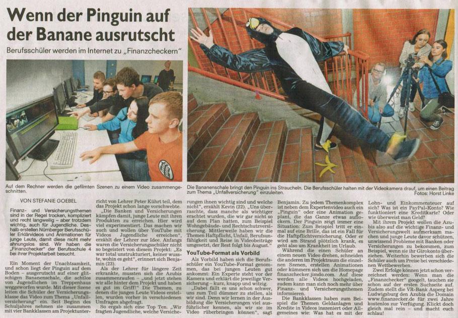 """Zeitungsartikel über das Projekt """"Finanzchecker"""" in den Nürnberger Nachrichten (06.07.2016, S.16) - schöner Bericht, nur beim Namen unserer neuen, zweiten Domain hat der Druckfehlerteufel zugeschlagen, der richtige Name lautet """"finanzchecker.de"""""""