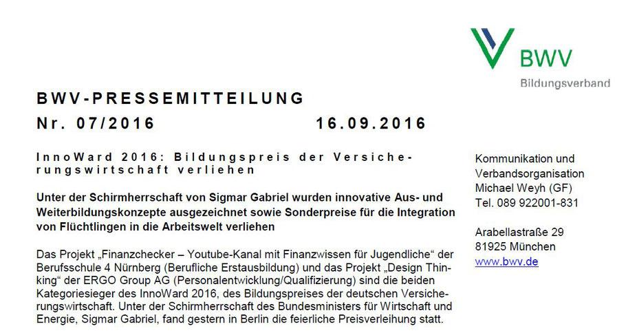 """""""Innoward""""-Bildungspreis 2016: 1. Gewinner ist Projekt """"Finanzchecker"""""""