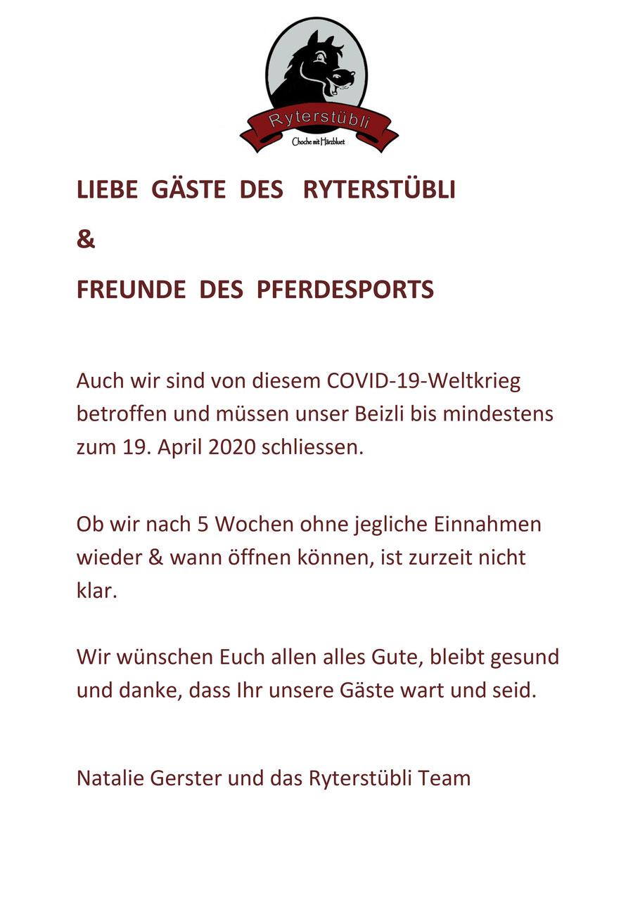 Restaurant Ryterstübli Binningen Basel Coronavirus Geschlossen