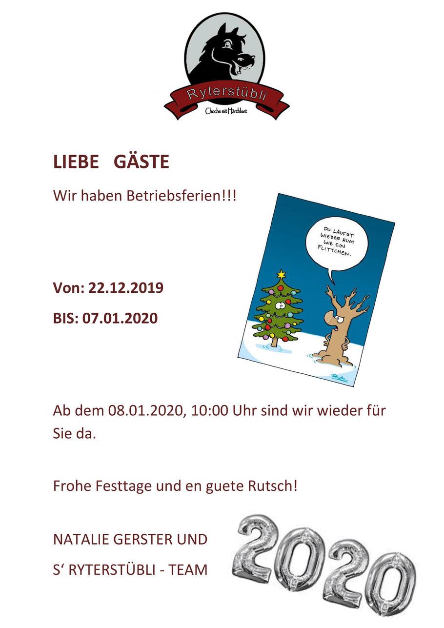 Ferien, Öffnungszeiten, Weihnachten, Neujahr, Restaurant Ryterstübli, Restaurant Ryterstuebli, Basel, Binningen
