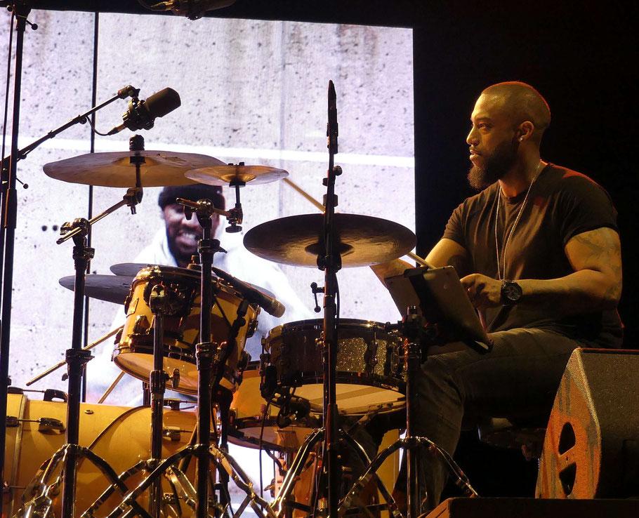 (Photo) Jc Colletto. Groupe : Chassol. Musicien à l'image : Mathieu Edward (batterie). Le 29 juin 2019.