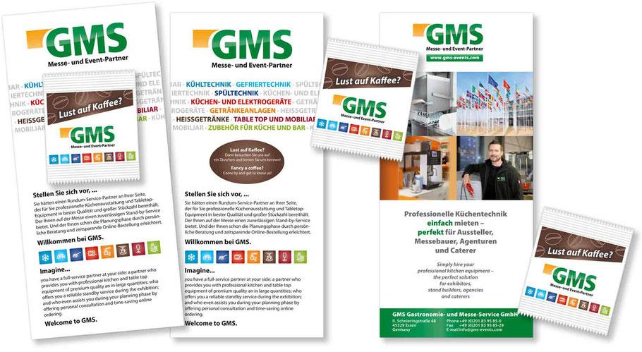Messeflyer und Messe-Give-Away mit Kaffeebohnen GMS GmbH