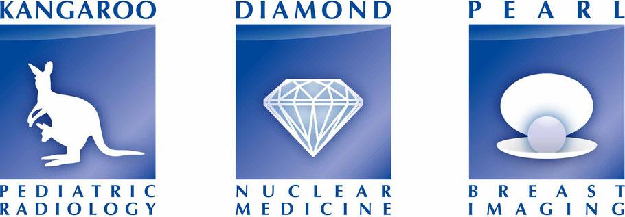 Logos für die Satellitenkurse Pediatric Radiology Nuclear Medicine Breast Imaging IDKD