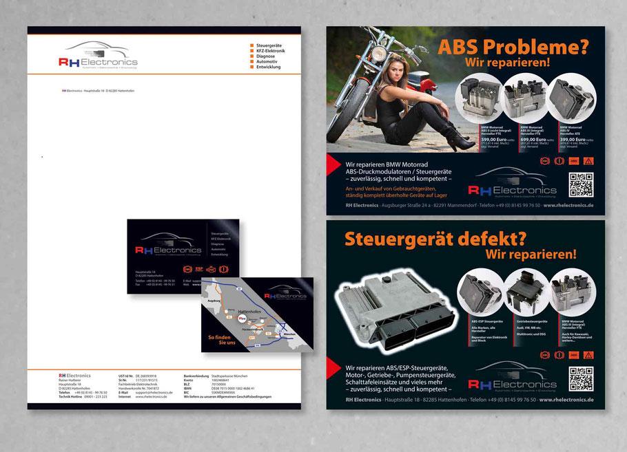 Briefbogen Geschäftskarte Anzeigen RH Electronics
