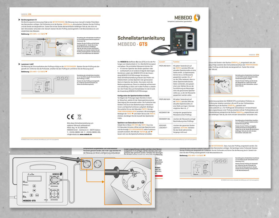 Schnellstartanleitung Mebedo GTS mit technischen Illustrationen