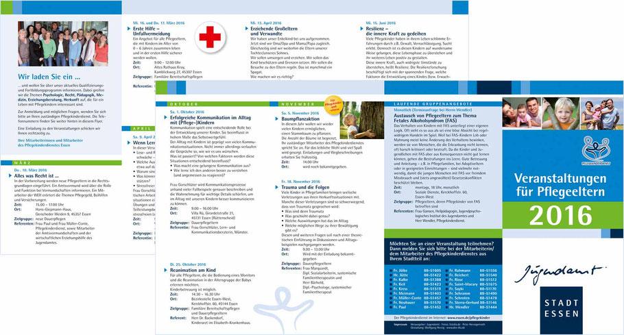Veranstaltungsflyer Pflegekinderdienst Jugendamt Stadt Essen