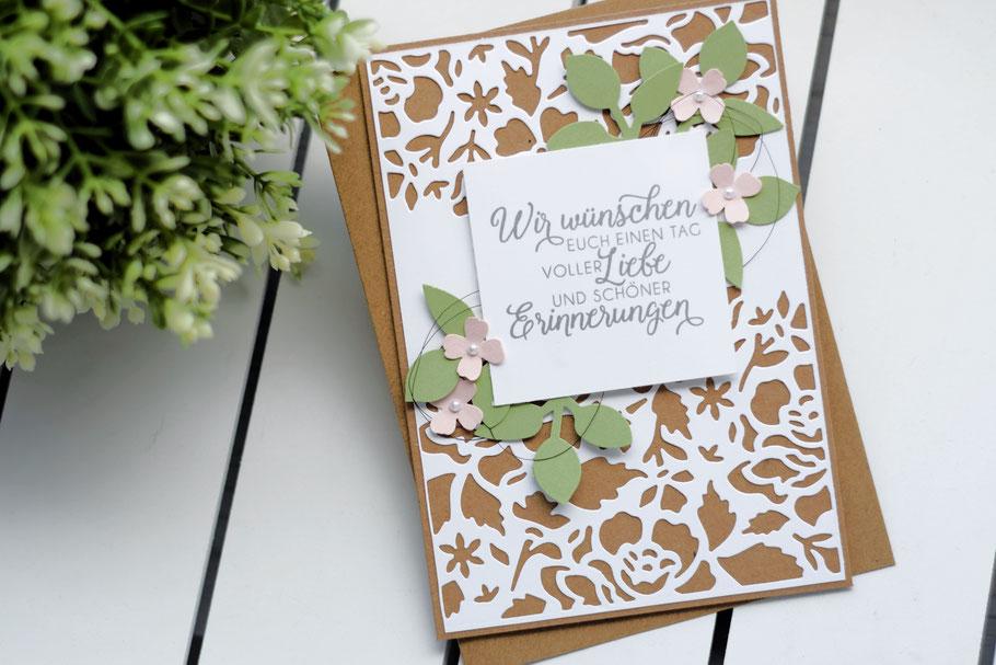 Stampin Up Florale Fantasie Hochzeitskarte Stempel Hochzeitsgeschenk Geschenkidee geldgeschenk hochzeit hochzeitskarte blätterzweig kirschblüte