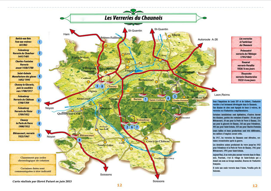 Carte des Verreries du Chaunois