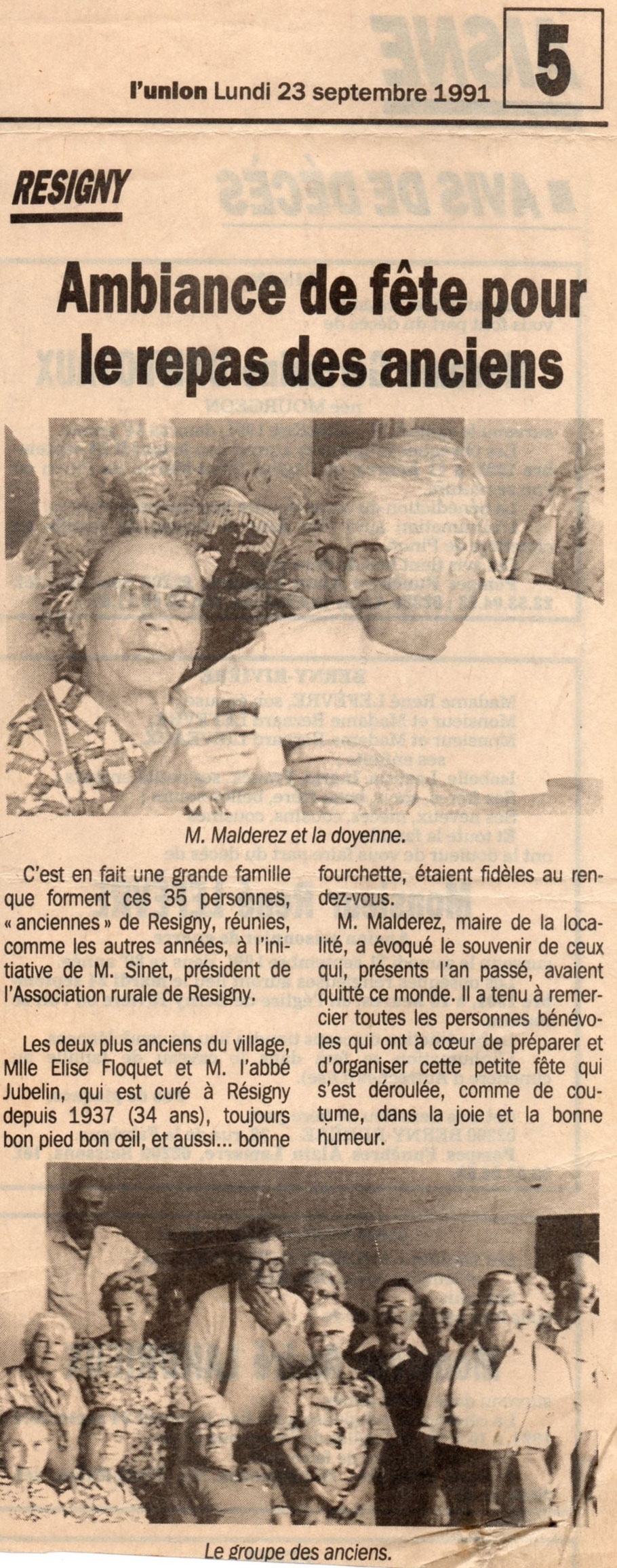 Elise Floquet, ma grand tante, décédée à 100 ans et 3 mois.