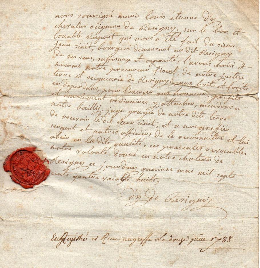 nomination de Jean Sinet, (1726-1795) agent communal, comme procureur fiscal en 1788, qui devient Agent National en 1793.(1er maire de Résigny)- c'est l'arrière-arrière-arrière grand-père de Lucie Floquet, ma grand-mère, femme de Léon
