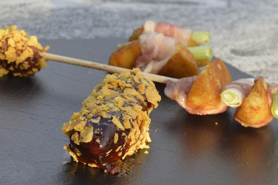 Kartoffelwedges/Bacon/Hackfleisch-Spieß