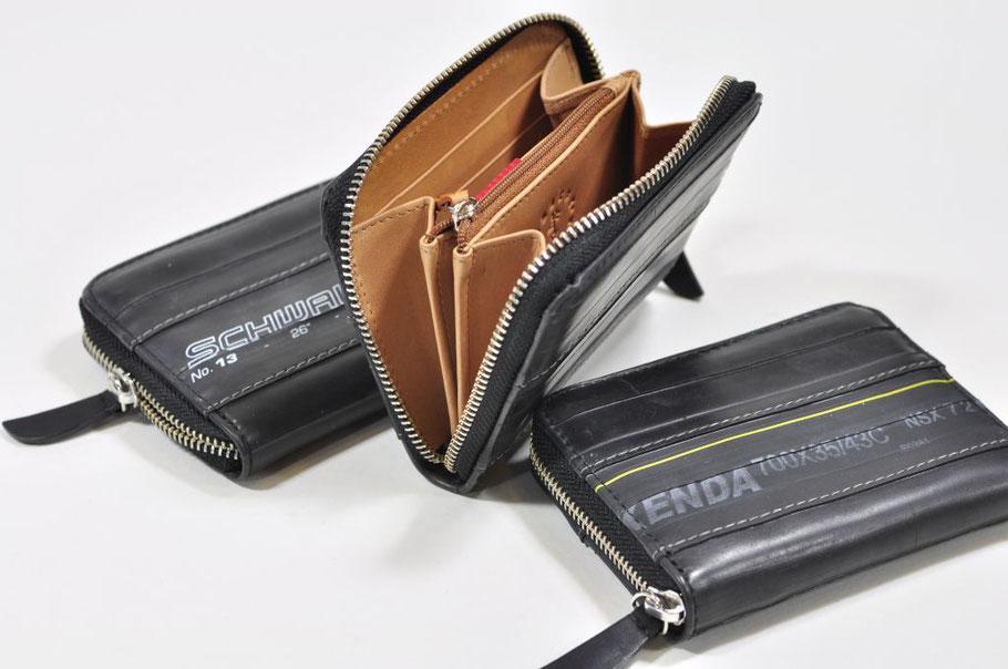 Portemonnaie mit Reißverschluss aus Fahrradschlauch und Leder von Stef Fauser Design.