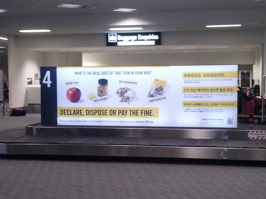 En el aeropuerto de Christchurch, adevertencia de las multas por llevar comida fresca no declarada