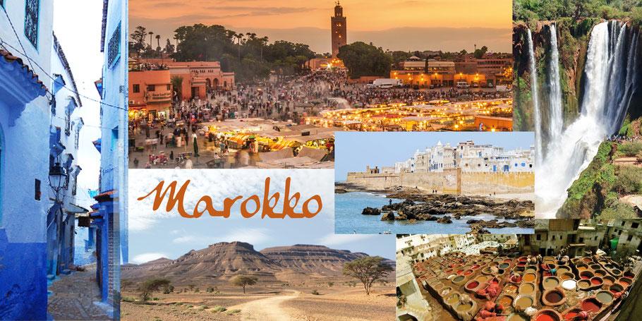 Marokko, das abwechslungsreichste und sicherste Land Nordafrikas: Jemaa el Fna, Chefchaouen, Stop in der Wüste, Atlantikhafen Essaouira, Boumalne Dades
