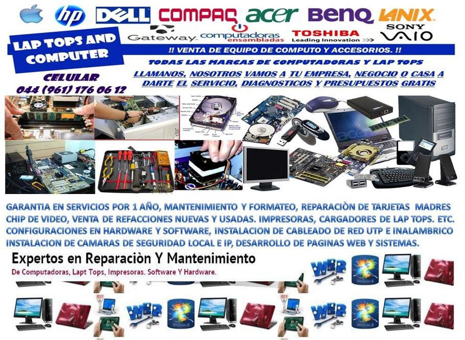 Reparacion Y Mantenimiento De Computadoras Y Lap Tops Impresoras Y Proyectores Configuraciones En Software Y Hardware Página Web De Camarasdevigilanciatuxtla