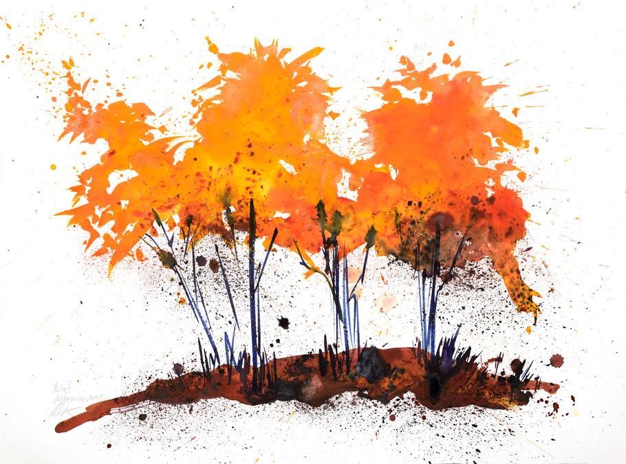 Herbsttage 002 | Aquarell auf Papier | 45,5 x 61 cm