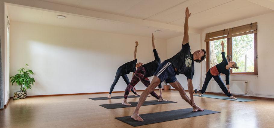 Yoga in gouda bij studio Yogabird. Afbeelding van de yogadocenten van Yogabird. Upward dog.