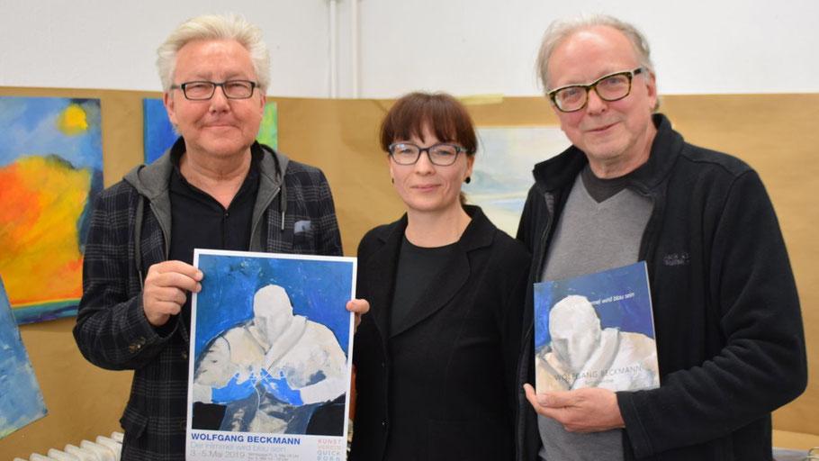 Romy Rölicke, 1. Vorsitzende des Kunstvereins, und Edwin Zaft (r.) freuen sich auf die von Wolf Eismann kuratierte Ausstellung