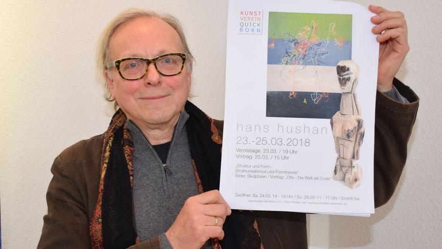 Edwin Zaft, 2. Vorsitzender des Kunstvereins, lädt zur neuen Ausstellung ein