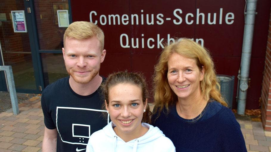 Sozialpädagoge Hendrix Bölle und Sophia Vogt führten das Projekt durch, Wendepunkt-Mitarbeiterin Michaela Berbner begleitete es (v.l.)