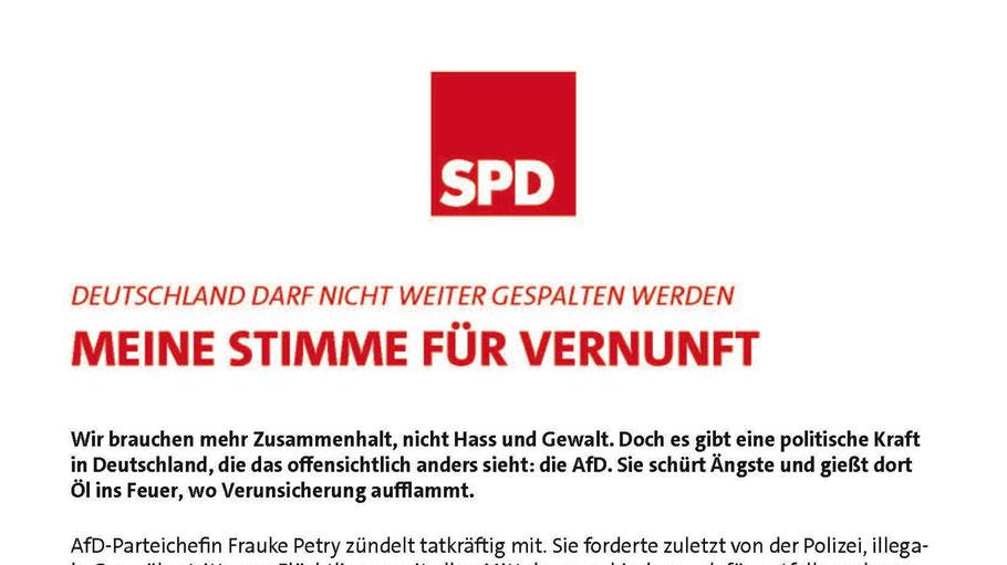 Mit einem Flugblatt wendet sich die SPD gegen die AfD.