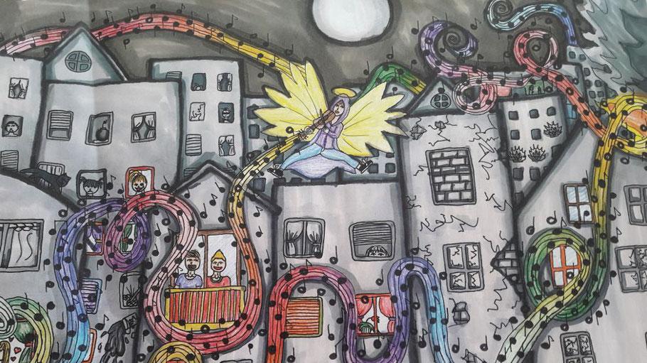 Dieses Bild der jungen Künstlerin Janina gewann den 2. Preis in der Gruppe der 13- bis 18-jährigen Teilnehmer