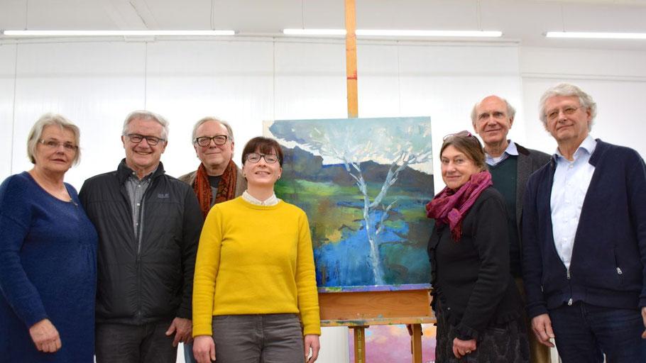 Im Licht der neuen LED-Beleuchtung: Ute Höller, Hans-Werner Seyboth, Edwin Zaft, Romy Rölicke, Alice Kaufmann, Hans Kaufmann und Heinz Wiedemann