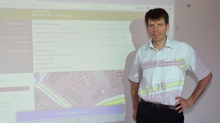 Felix Thermann, Mitarbeiter im Fachbereich Stadtentwicklung, stellte das neue interaktive Verfahren für die Beteiligung an Planungsprozessen vor.