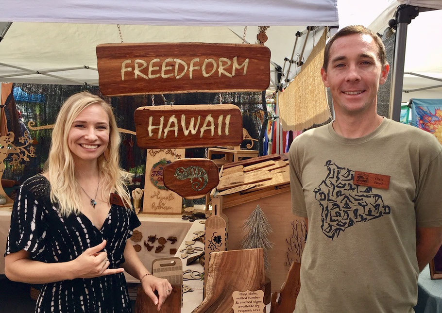 Amanda and Chris Freed Sunday Pure Kona Green Market Amy Greenwell Garden Hawaii