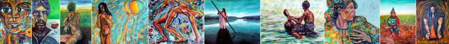 """Auswahl von Bildern unter der Rubrik """"Mythos und Wirklichkeit"""": der Mensch in Gegenwart, Geschichte und Mythologie"""
