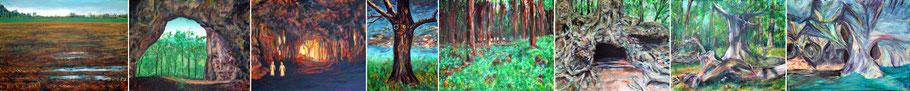 Landschaftsbilder und Pareidolien: Schattenbilder, Trugbilder, Erscheinungen von Gesichtern und Figuren in Baeumen, Hoehlen und Wurzeln.
