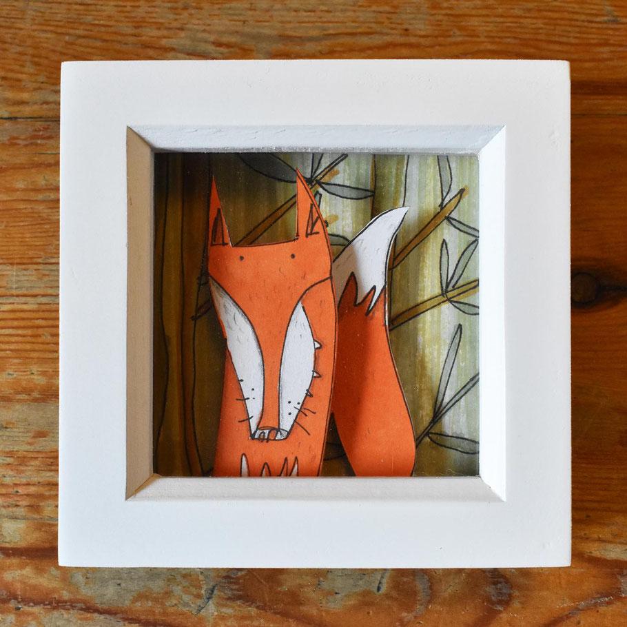 fox in a box frame 3D handmade wall art