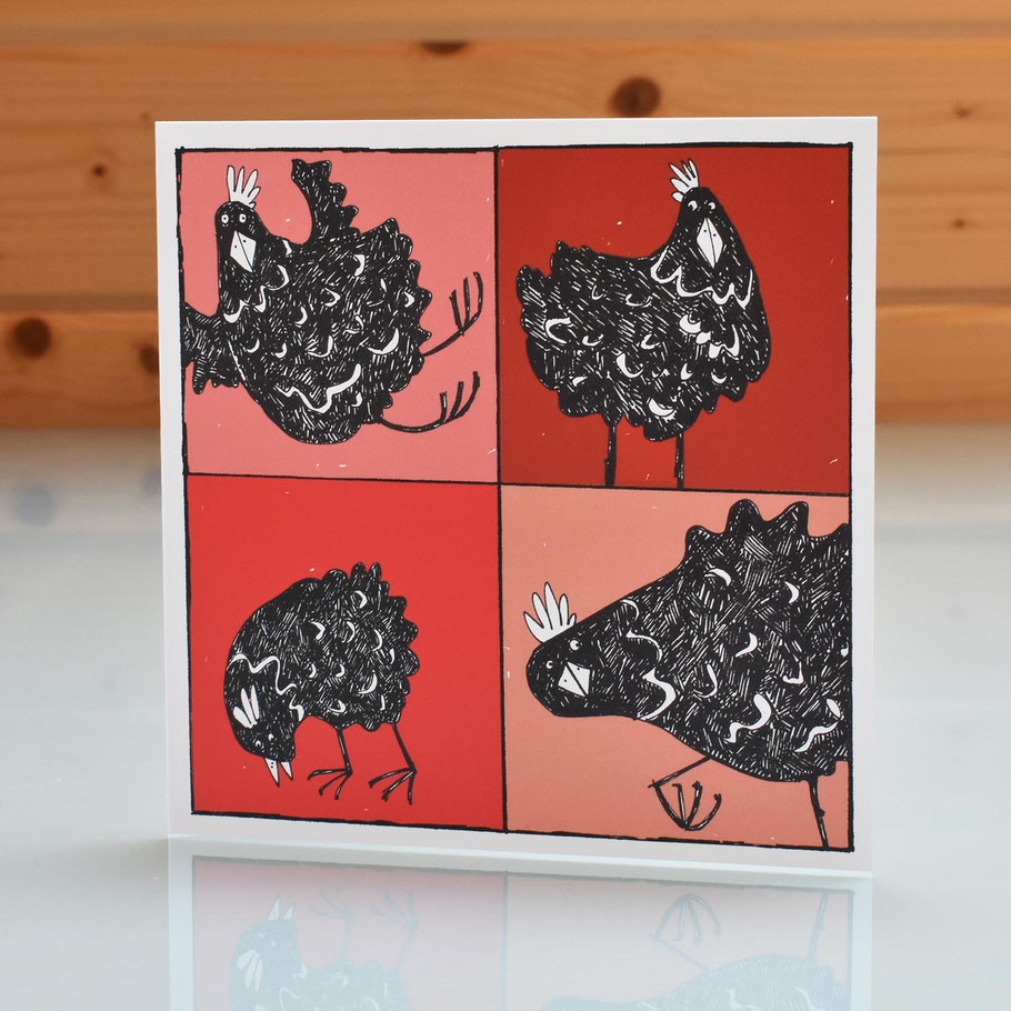 red black orpington fu hen chicken 2D greeting card birthday new home house move