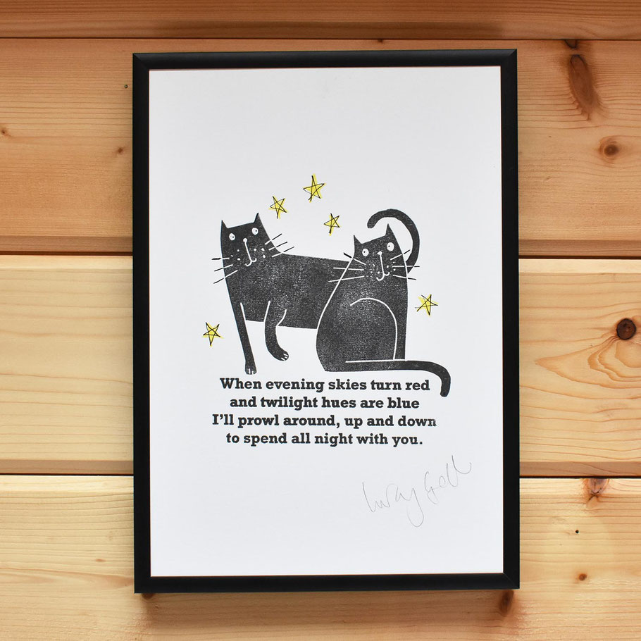 black tom cat lover valentine i love you linocut affordable original wall art print when evening skies