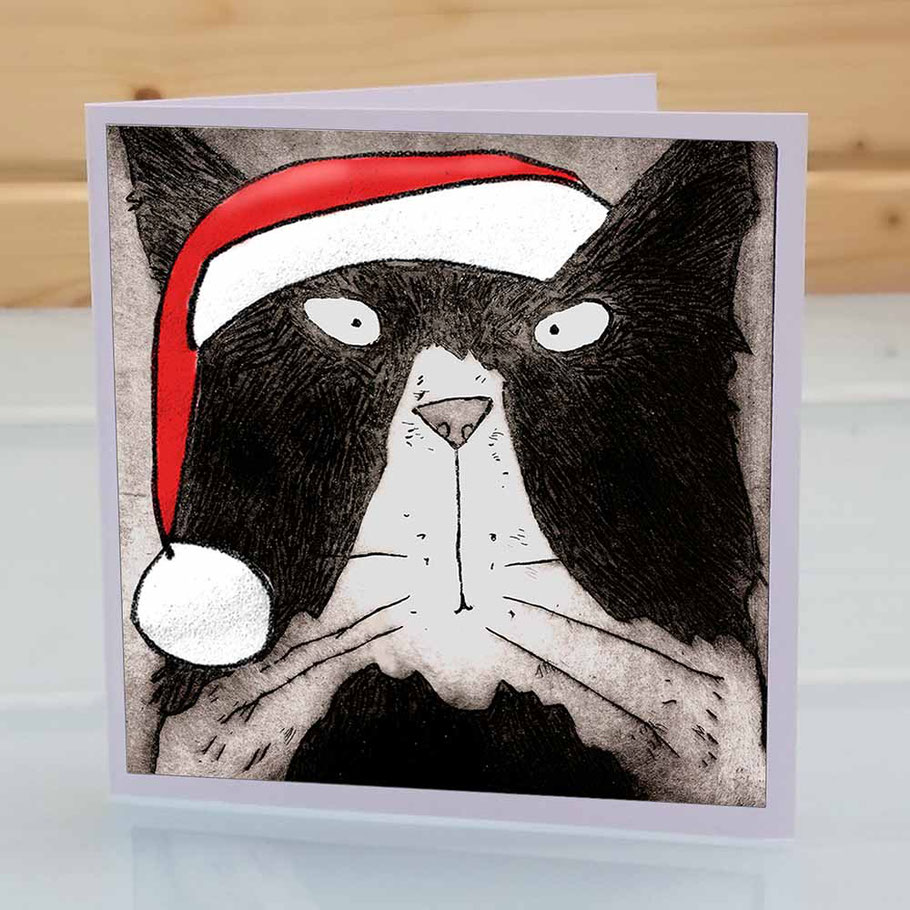 humourous tom cat christmas greeting card fun xmas funny black and white cat lover feline friend in santa hat