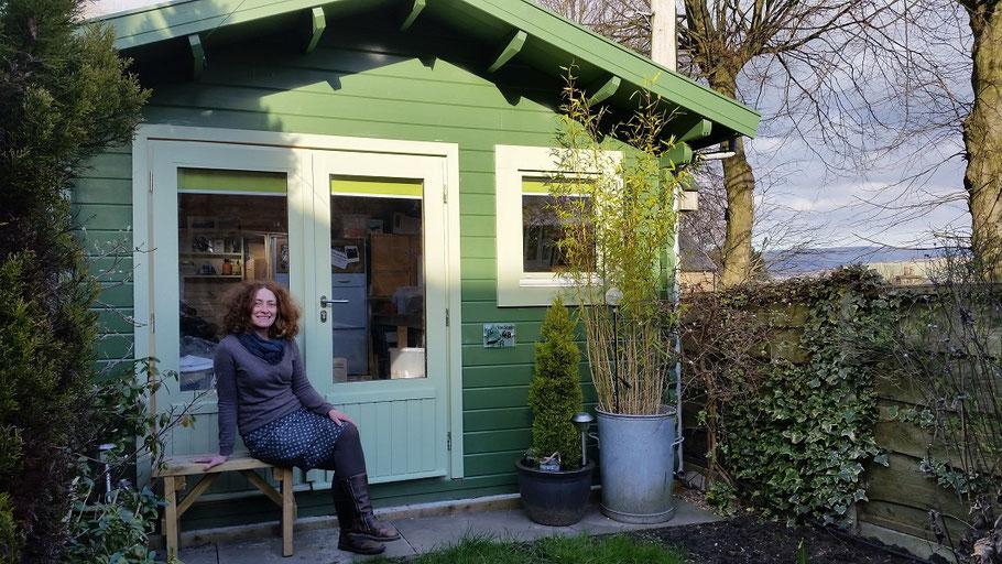 Lucy Gell outside her printmaking studio in High Peak, Derbyshire, UK