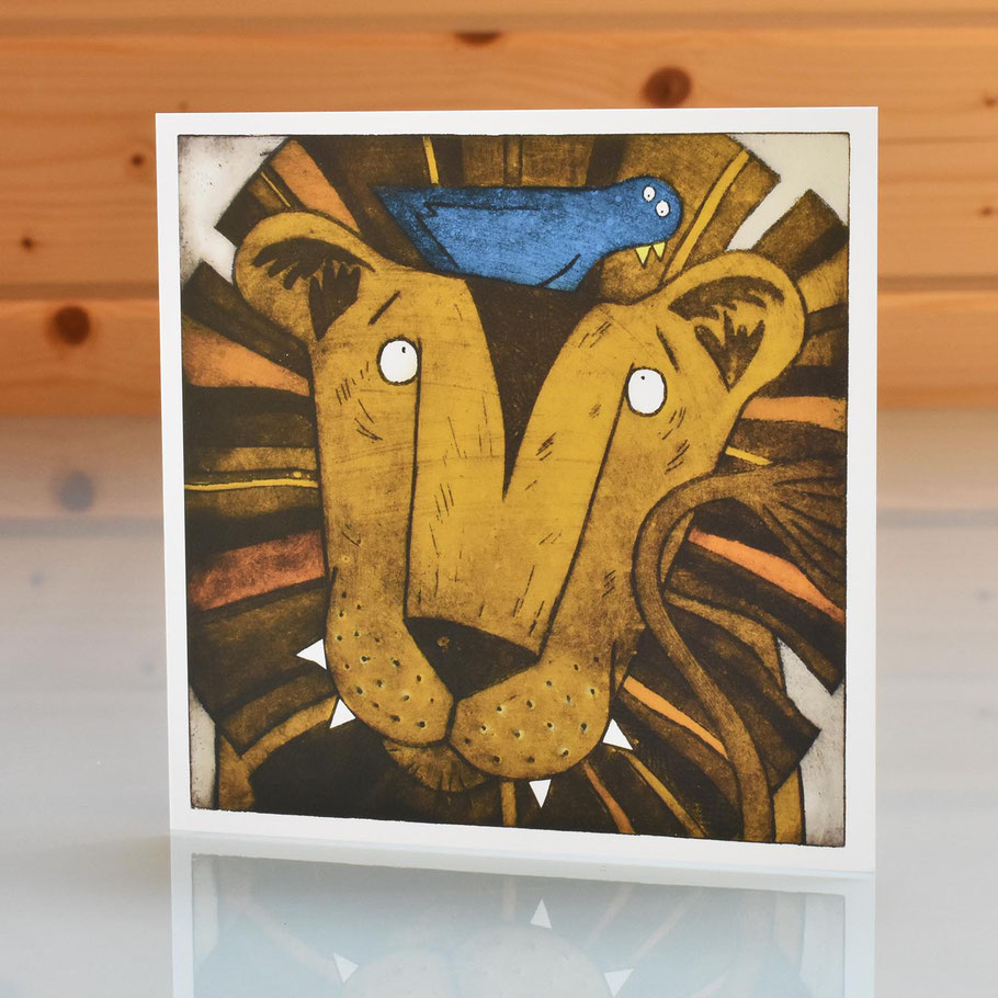 lion and bird blank inside greeting card