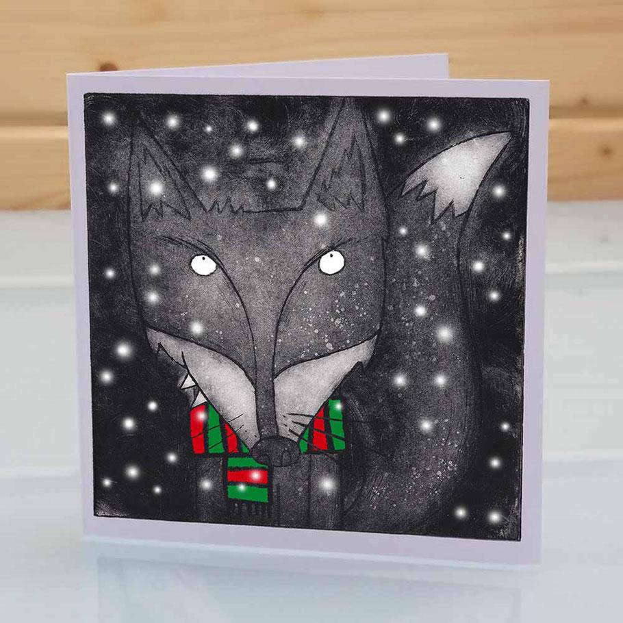 Funny fox Christmas greeting card fun xmas card woodland animal dark humourous menacing sly fox lover