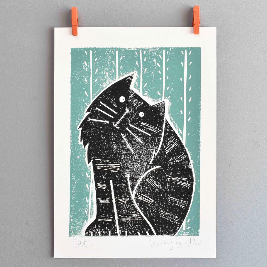 pondering puss black cat lover A4 monoprint art print
