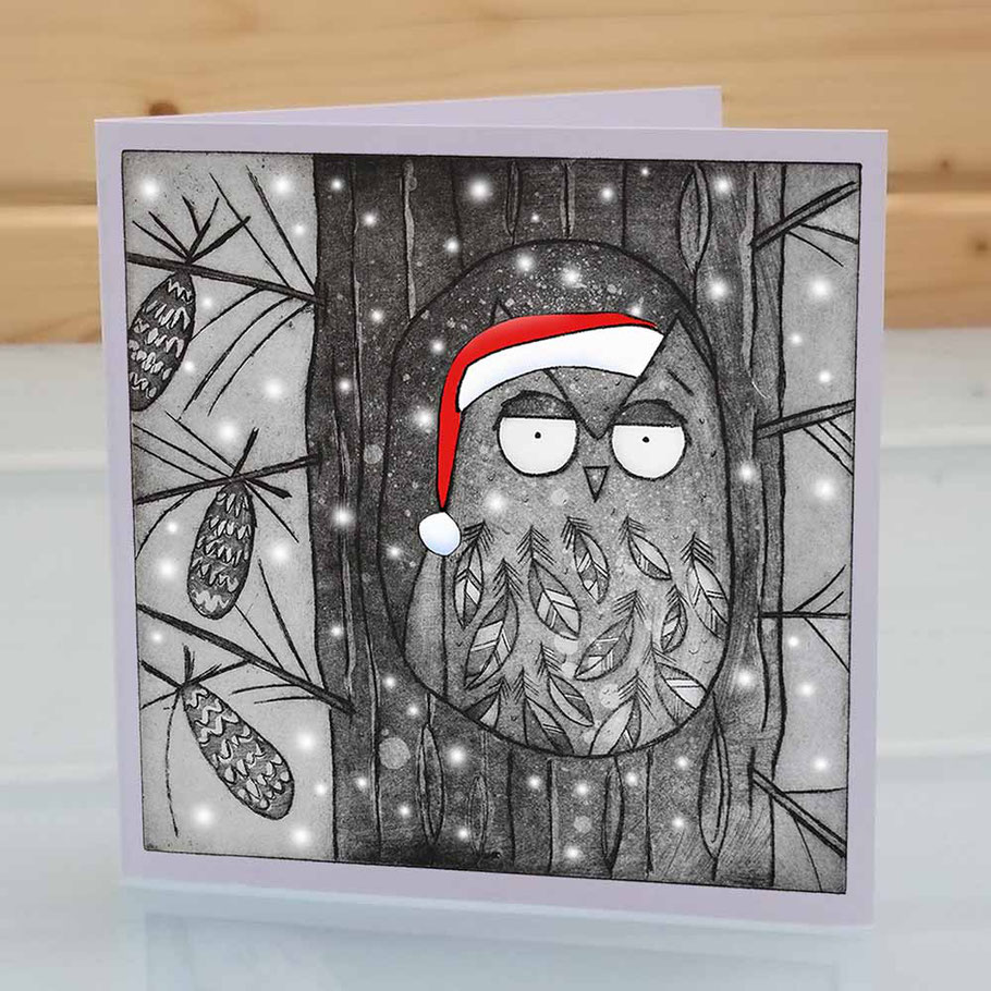 Fun owl Christmas greeting card xmas card owl lover birder twitcher funny humourous pine tree santa hat