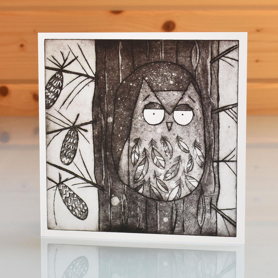 owl within the pine trees blank inside greeting card