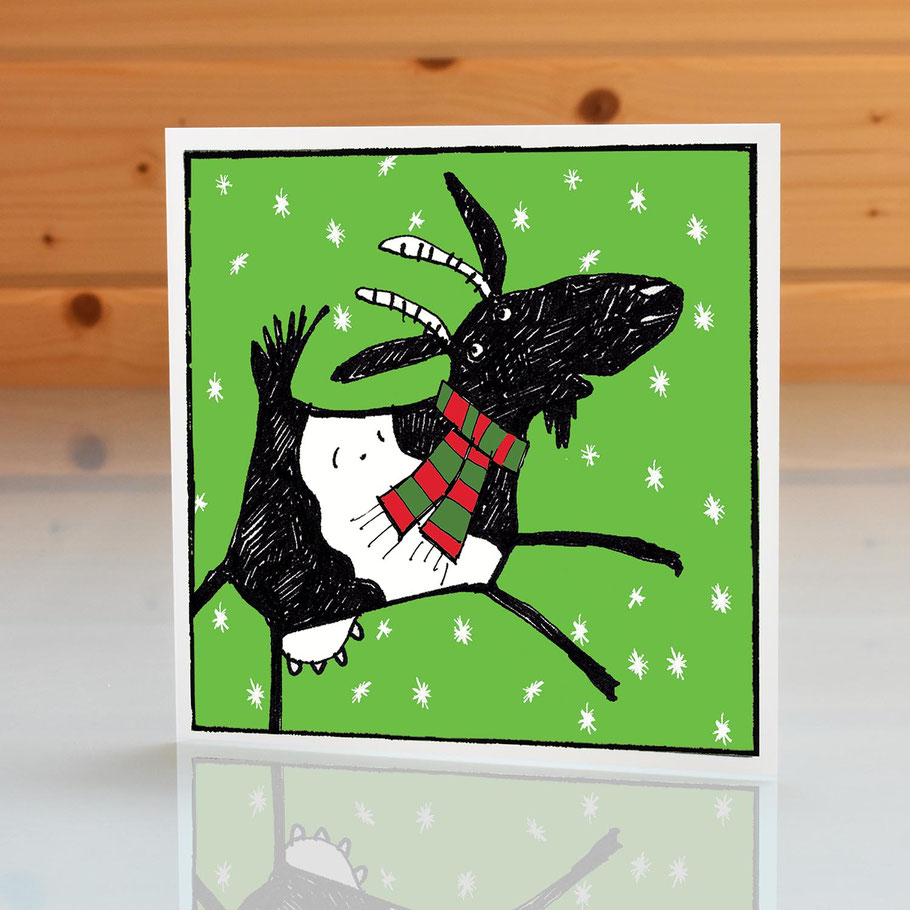 fun humourous jolly goat blank inside Christmas greeting card