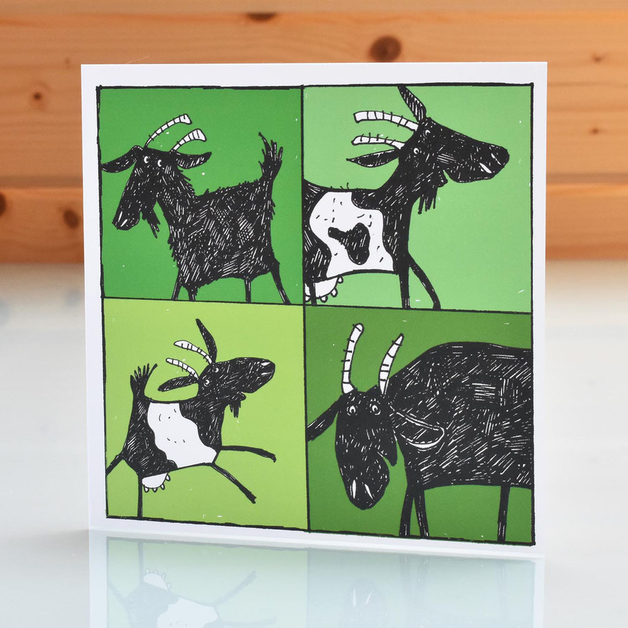 green handsome billy pygmy goat greeting card cheerful fun farm animal card birthday thankyou get well soon new home