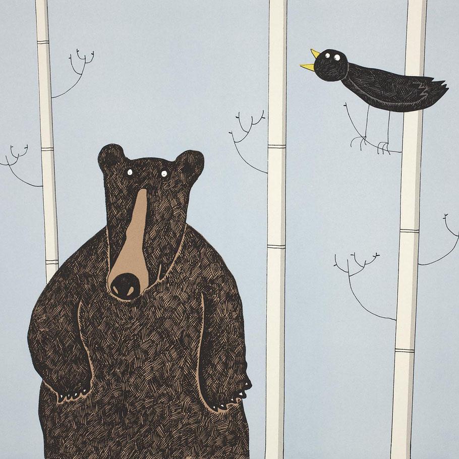 standing black bear art screenprint print